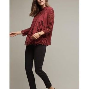 NEW Anthropologie - Laced High-Neck Blouse